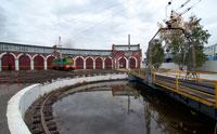 депо веерного типа с поворотным кругом для локомотивов