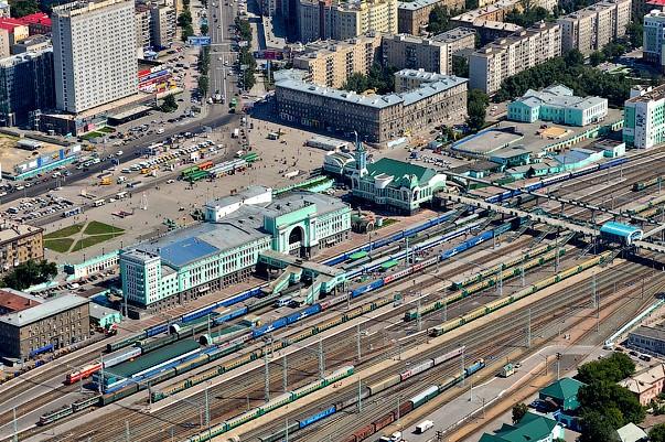 Вид вокзала Новосибирска с высоты птичьего полета